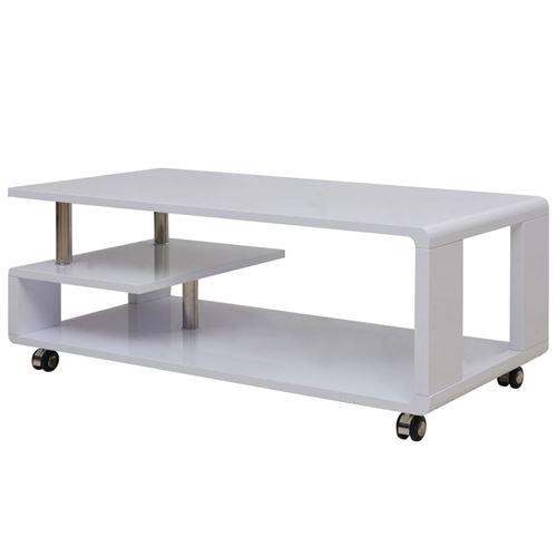 vidaXL Table basse brillante Blanc