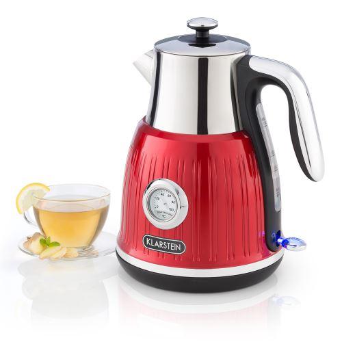 Klarstein Cancan Bouilloire électrique sans fil - Capacité 1,6 litre - Puissance 1800 à 2150W - Base 360° - Look rétro rouge