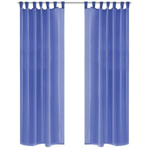 vidaXL Rideau occultant 2pcs Voile 140*225 cm Bleu royal