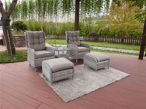 salon de jardin relax en résine tressée colorado - florida - gris ...