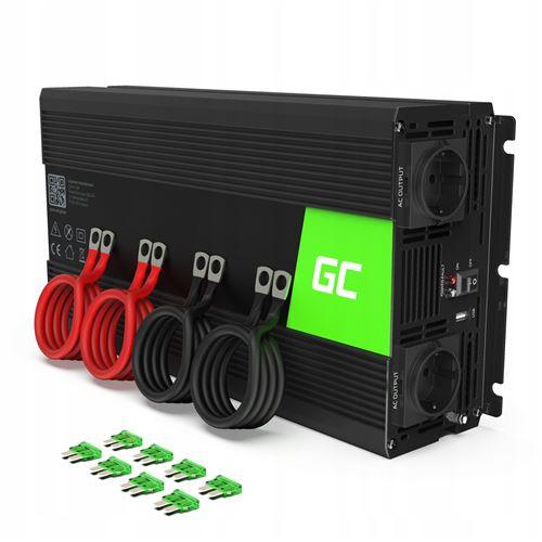 Green Cell® 3000W/6000W Pur Sinus Convertisseur de Tension DC 24V AC 220V/230V Power Inverter sinusoïdale, Onduleur Transformateur avec Connection USB