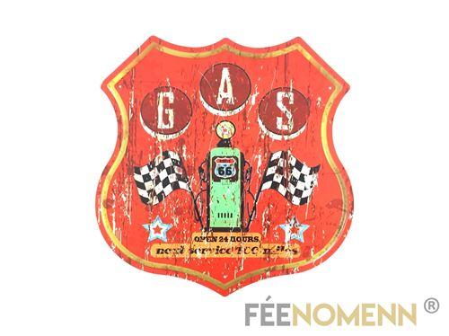 plaque métal déco vintage - forme ecusson - route 66 station gas red (30x30cm)