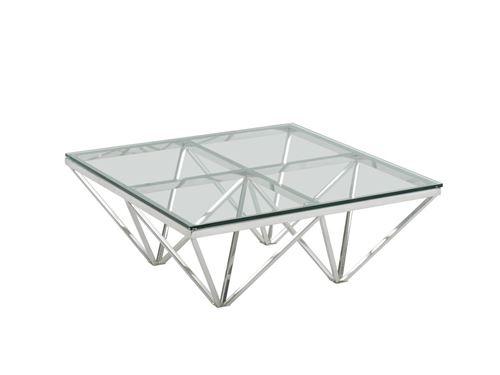 Table basse MELKIOR - Verre trempé & acier inoxydable