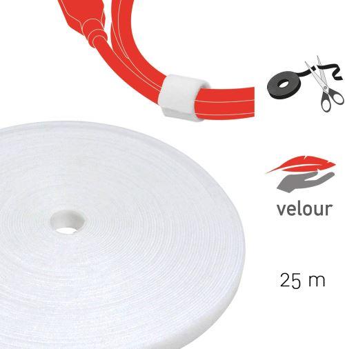 Label-the-cable rouleau de ruban auto-agrippant double-face, attache-câbles en scratch découpable, qualité velours, utilisable comme collier de serrage/ LTC ROLL STRAP, 25m x 16mm, Blanc, PRO 1220