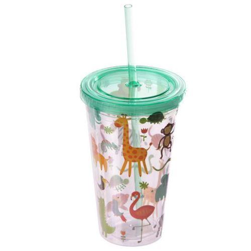Verre en plastique et paille - Animaux du zoo