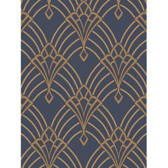 Astoria Deco Papier Peint Bleu Fonce Et Or Rasch Decors Et