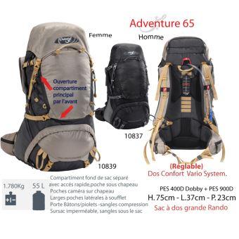 rouge et noir grande randonnée expedition sac à dos Neuf expedition 65 sac à dos-bleu