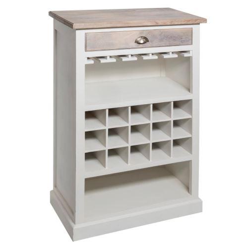 Meuble de bar coloris blanc en bois - L. 73 x l. 40 x H. 115 cm -PEGANE-