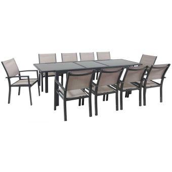 salon de jardin extensible 200/260 tropic 10 - phoenix - anthracite/taupe-  1 table + 10 fauteuils