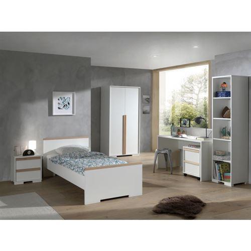 Lit 90x200 - Chevet 2 tiroirs - Armoire 2 portes - Bureau - Caisson de bureau et Bibliothèque London - Blanc