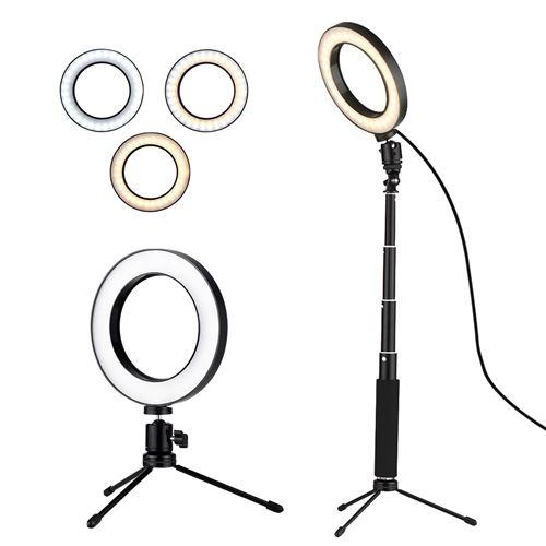 Trépied Avec Lampe Dimmable Alimenté De Mini 6 Télescopique Lumière Bureau 3 Docooler D'éclairage Modes Led Usb Vidéo Anneau O8knP0wX