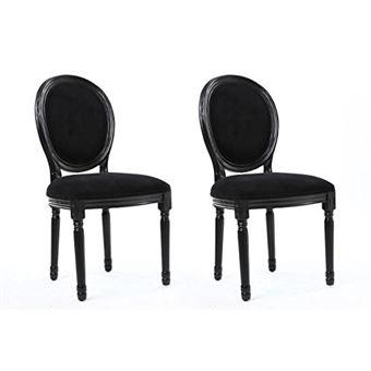Générique Versailles Lot De 2 Chaises De Salle A Manger En Tissu Aspect  Velours   Noir   Achat U0026 Prix   Fnac