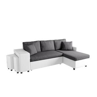 220 sur canap d 39 angle convertible gris blanc avec. Black Bedroom Furniture Sets. Home Design Ideas