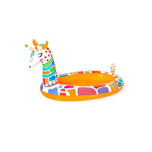 Piscine Hors-sol Gonflable pour Enfants Bestway Girafe 266x157x127 cm avec Spray d'Eau