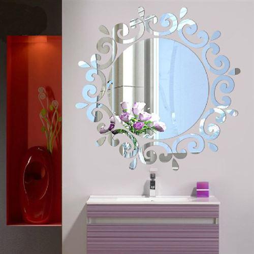 Miroir rond d'ornement 3D miroir acrylique argent adhésif (46 x 46 cm)