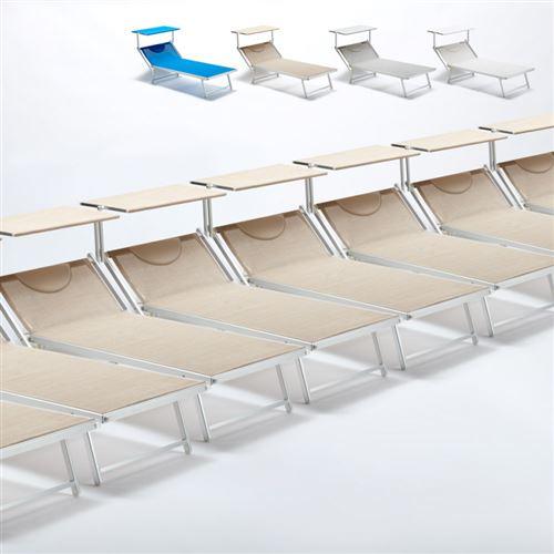 Beach and Garden Design - Bain de soleil transat taille maxi professionnels aluminium lits de plage GRANDE Italia Extralarge stock 20 pcs, Couleur: Beige