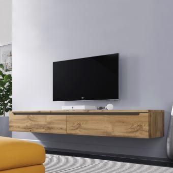 Meuble TV Banc TV SWIFT 180 cm effet chêne wotan sans LED à suspendre ou à poser style moderne