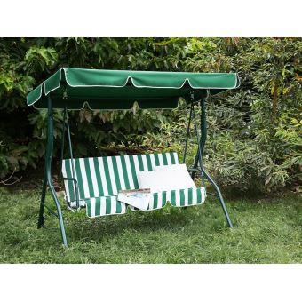 Beliani - Balancelle de jardin - balancelle en métal et tissu vert et blanc  - Chaplin