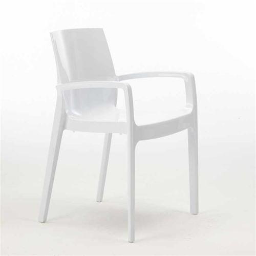 Grand Soleil - Chaise polypropylène empilable avec accoudoirs salle à manger Cream Grand Soleil, Couleur: Blanc
