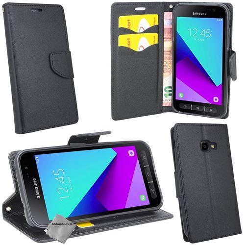 Housse etui coque pochette portefeuille pour Samsung G390F Galaxy Xcover 4 avec verre trempe - NOIR / NOIR