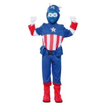 Déguisement capitaine bleu america enfant 7-9 ans (combinaison + ceinture)