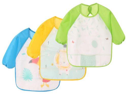 3 Bavoirs tabliers résistants à l'eau à Manches Longues, Tabliers de repas, de Jeu, de Peinture pour Les Enfants de 6 à 36 mois ( Vert , jaune , bleu )