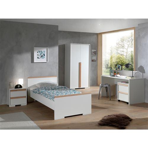 Lit 90x200 - Chevet 2 tiroirs - Armoire 2 portes - Bureau et Caisson de bureau London - Blanc