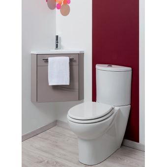 Meuble lave-mains à suspendre d\'angle Ninon Taupe