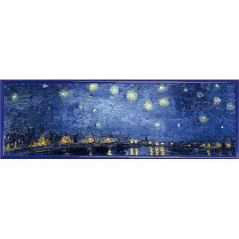 Poster Reproduction Encadré Vincent Van Gogh La Nuit étoilée Sur Le Rhône 1888 91x30 Cm Cadre Plastique Bleu