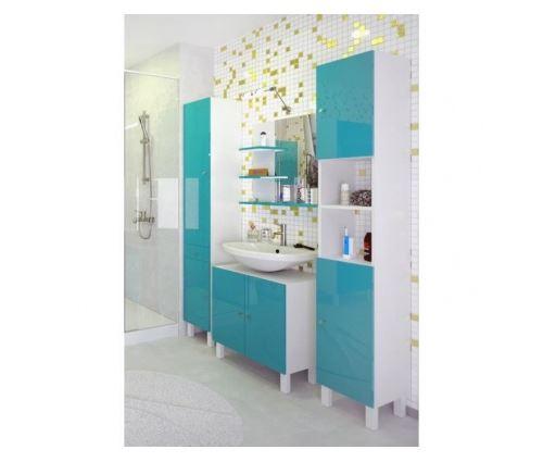 Corail meuble sous lavabo l 60 cm - bleu lagon brillant ...