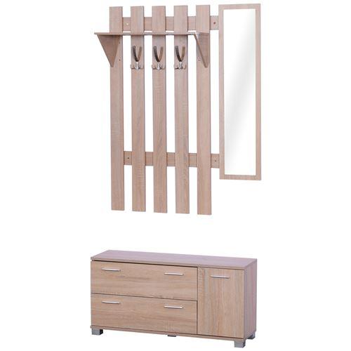Ensemble de meubles d'entrée 3 pièces meuble chaussures, miroir et panneau porte-manteau panneaux particules chêne clair