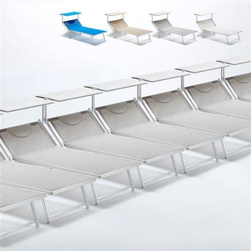 Beach and Garden Design - Bain de soleil transat taille maxi professionnels aluminium lits de plage GRANDE Italia Extralarge stock 20 pcs, Couleur: Gris