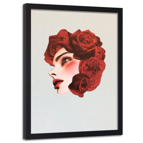 Feeby Image murale encadrée déco Tableau cadre Noir, Collage roses rouges 40x60 cm