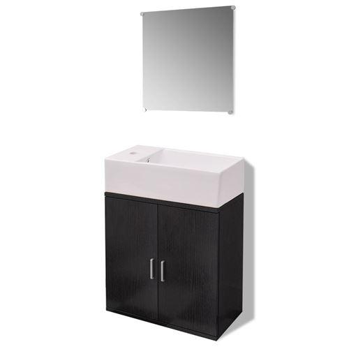 vidaXL Meubles de salle bains trois pièces Noir