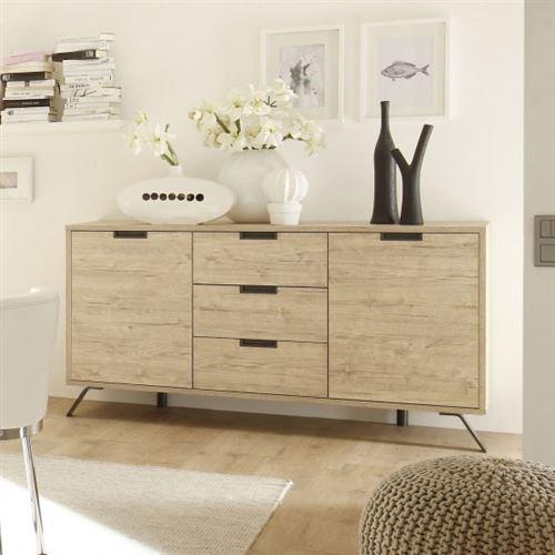 Buffet bahut couleur bois contemporain PLUME - 2 portes 3 tiroirs