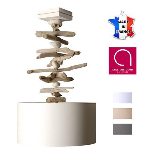 Suspension luminaire bord de mer bois galets - Personnalisable - Fabriquée main en France (Blanc) - couleuretpersonnalisation : Blanc avec personnalisation