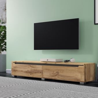Meuble Tv Banc Tv Swift 140 Cm Effet Chene Wotan Sans Led A Suspendre Ou A Poser Style Moderne