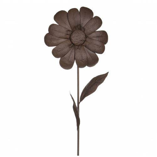 Décoration de Jardin Florale Fleur sur Tige à Piquer dans Jardin Massif Pot de Fleur en Métal Marron 6x33x104cm