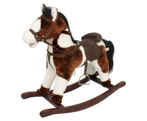 Cheval a bascule brun et blanc avec sons 75x33x66cm (lxlxh) - hauteur selle 46cm - animal - peluche - jouet 1er age bebe