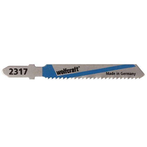 Wolfcraft 2317000 2 Lames de Scie Sauteuse Hss Queue en T, Longueur Dentée 50 Mm, Longueur Totale 75 Mm, Pas de Dents : 2 Mm, Dents Ondulées Et Fraisées