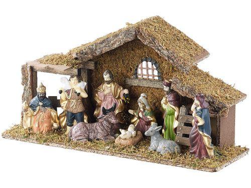 Britesta Cr/èche de No/ël en Bois avec Figurines en Porcelaine peintes /à la Main Petite