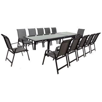 salon de jardin extensible 200/320 porto 12 - phoenix - noir/gris foncé - 1  table + 12 fauteuils