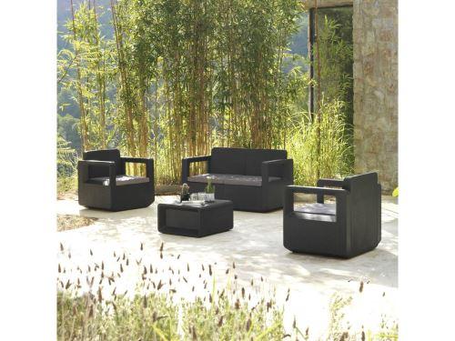 salon de jardin en résine venus - anthracite - Mobilier de ...