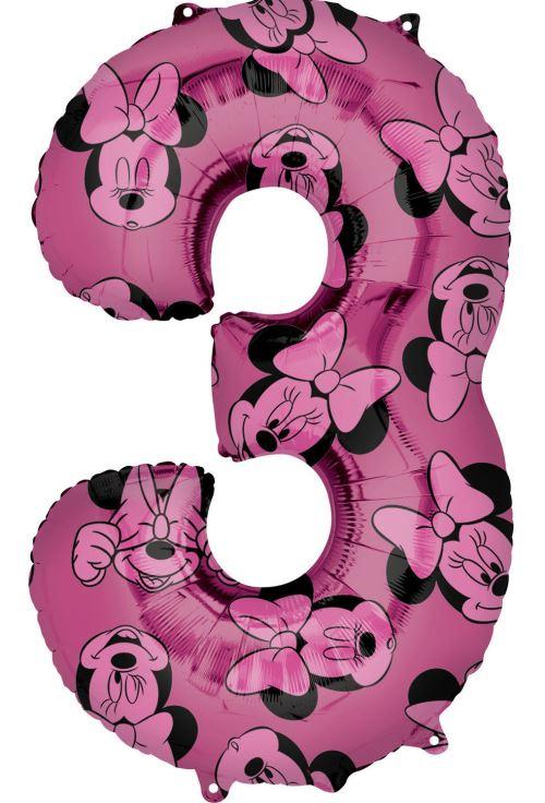 Amscan ballon d'aluminium Minnie Mouse 3 ans junior 43 x 66 cm rose