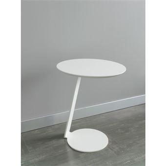 Table de chevet ronde en bois laqué blanc et pied en métal TASHA