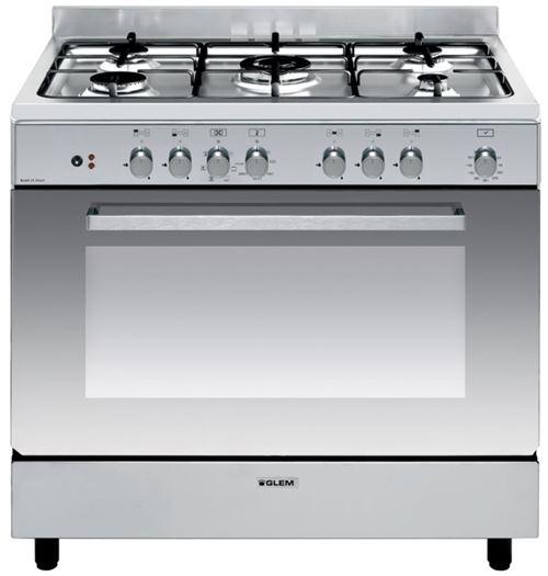 Glem GE960CBIX2 - Cuisinière - pose libre - largeur : 90 cm - profondeur : 60 cm - hauteur : 91 cm - avec système auto-nettoyant - classe A - inox