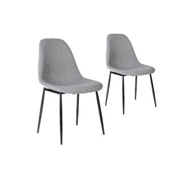 lot de 2 chaises scandinaves eli en tissu avec pieds mtal noir couleur gris clair achat prix fnac - Chaise Scandinave Pied Metal