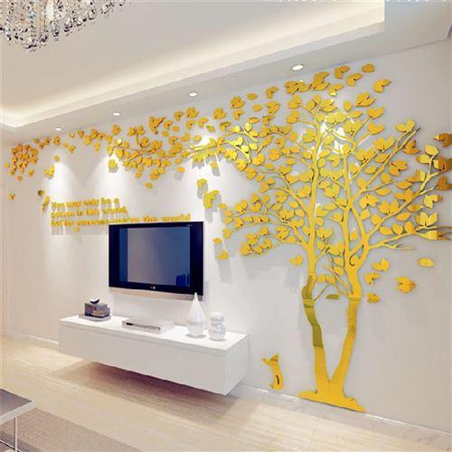 Arbre déco 3D miroir acrylique doré adhésif (200 x 400 cm)