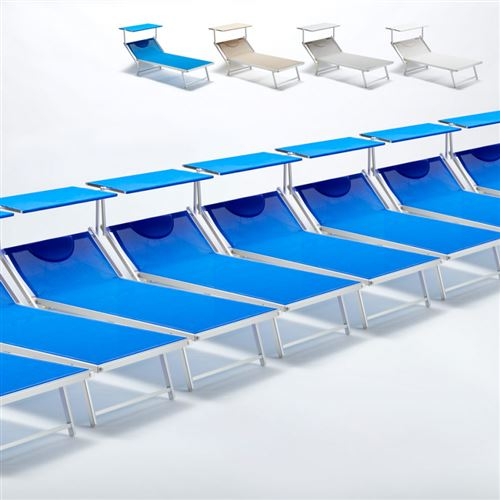 Bain de soleil transat taille maxi professionnels aluminium lits de plage GRANDE Italia Extralarge stock 20 pcs, Couleur: Bleu