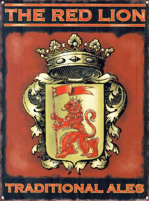 The Red Lion Plaque en métal 30 x 40 cm